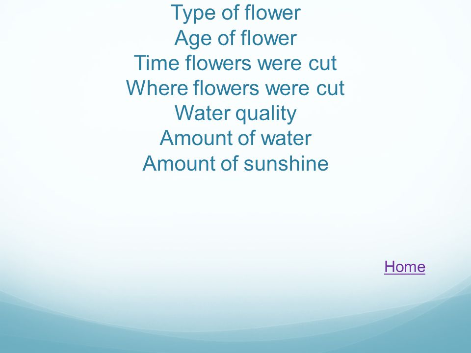 Type of flower Age of flower Time flowers were cut Where flowers were cut Water quality Amount of water Amount of sunshine Home