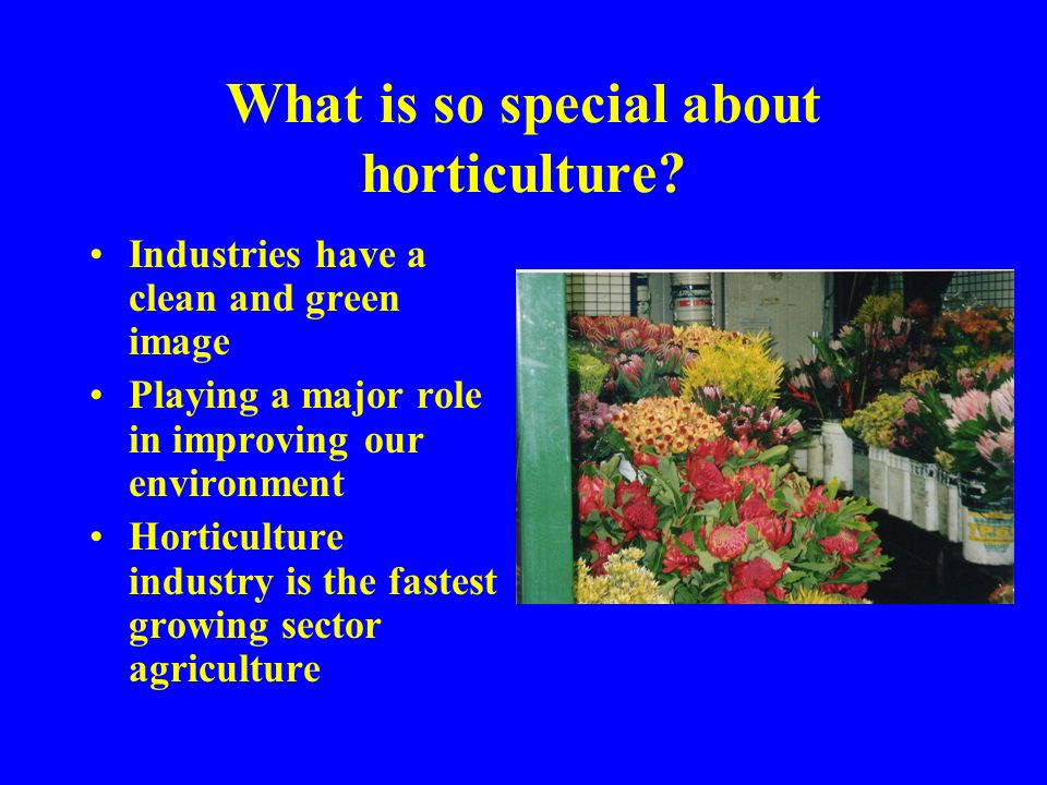 What is so special about horticulture.