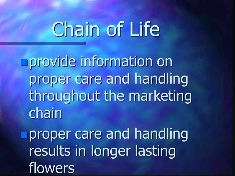 Chain of Life n provide information on proper care and handling throughout the marketing chain n proper care and handling results in longer lasting flowers