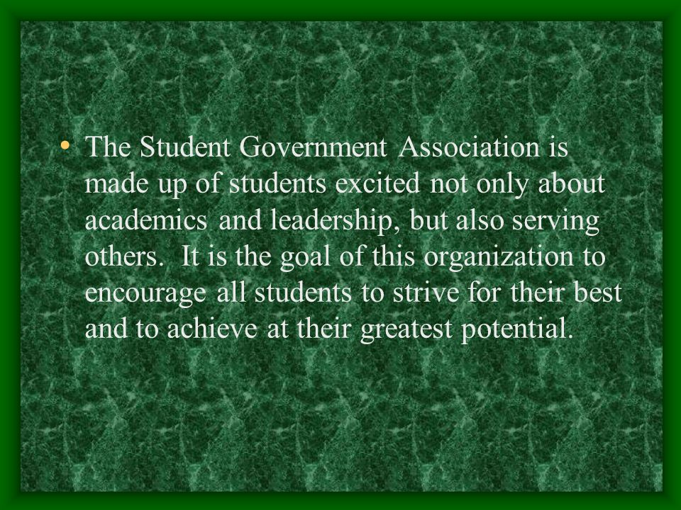 The Student Government Association is made up of students excited not only about academics and leadership, but also serving others.