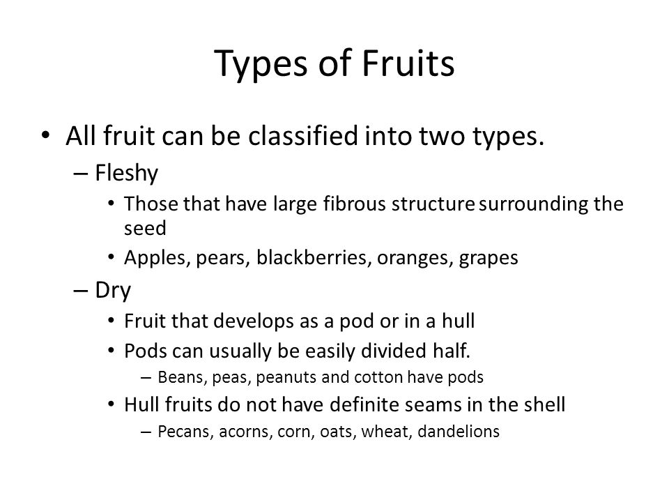Types of Fruits All fruit can be classified into two types. – Fleshy Those that have large fibrous structure surrounding the seed Apples, pears, black