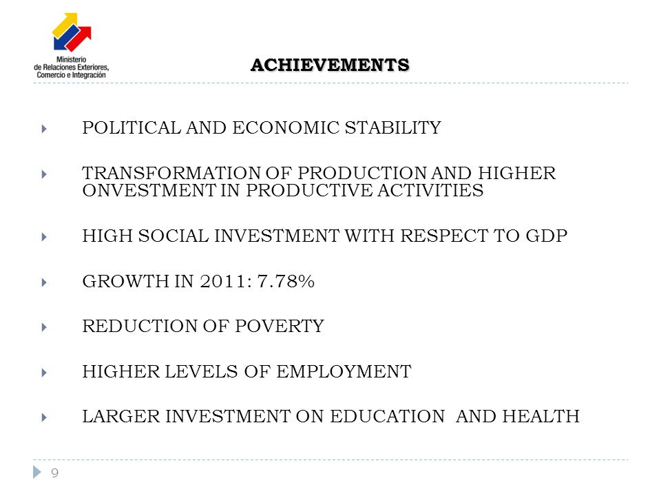 POLITICAL AND ECONOMIC STABILITY TRANSFORMATION OF PRODUCTION AND HIGHER ONVESTMENT IN PRODUCTIVE ACTIVITIES HIGH SOCIAL INVESTMENT WITH RESPECT TO GDP GROWTH IN 2011: 7.78% REDUCTION OF POVERTY HIGHER LEVELS OF EMPLOYMENT LARGER INVESTMENT ON EDUCATION AND HEALTH 9 ACHIEVEMENTS