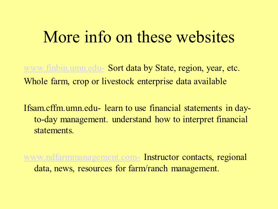 More info on these websites www.finbin.umn.edu-www.finbin.umn.edu- Sort data by State, region, year, etc.