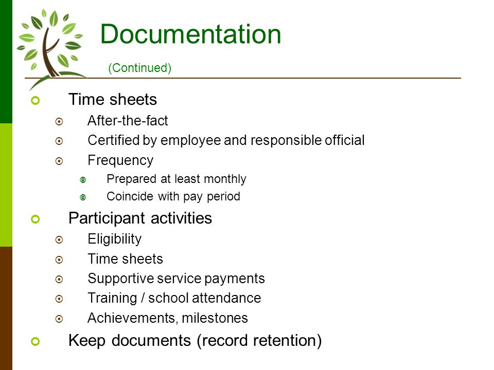 Documentation Time sheets After-the-fact Certified by employee and responsible official Frequency Prepared at least monthly Coincide with pay period P