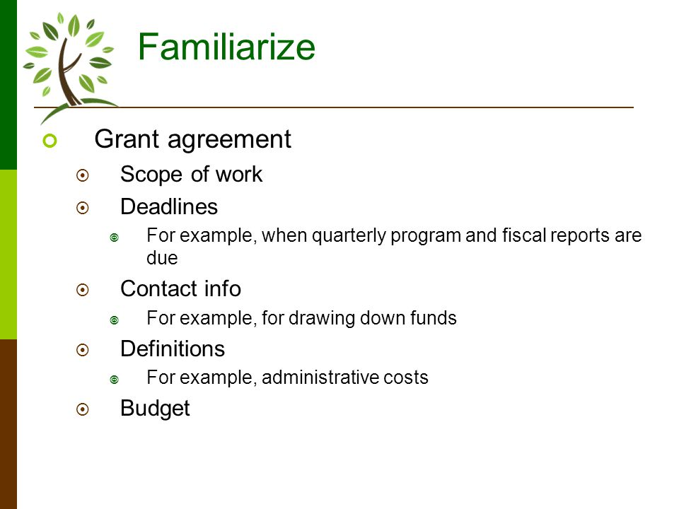 Familiarize Grant agreement Scope of work Deadlines For example, when quarterly program and fiscal reports are due Contact info For example, for drawing down funds Definitions For example, administrative costs Budget