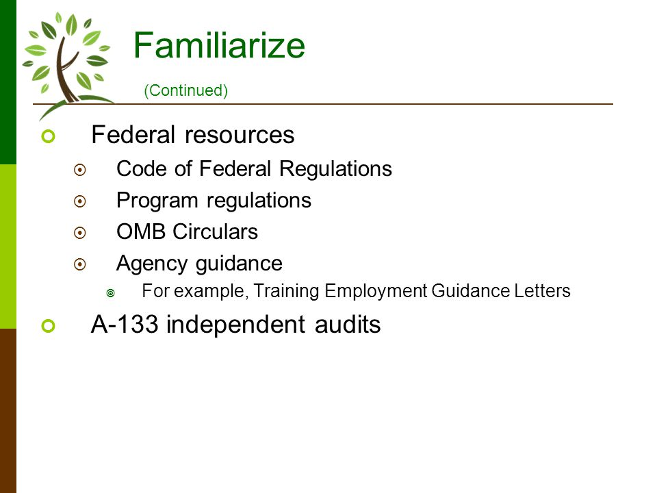 Familiarize Federal resources Code of Federal Regulations Program regulations OMB Circulars Agency guidance For example, Training Employment Guidance Letters A-133 independent audits (Continued)