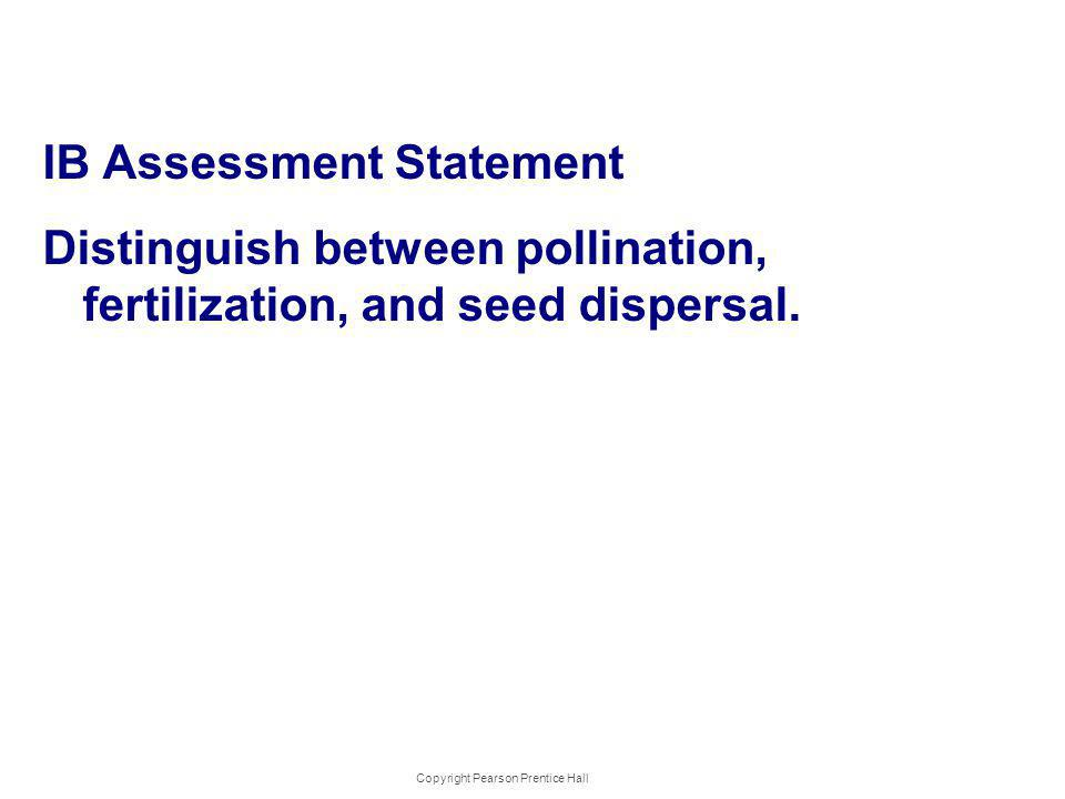 IB Assessment Statement Distinguish between pollination, fertilization, and seed dispersal. Copyright Pearson Prentice Hall