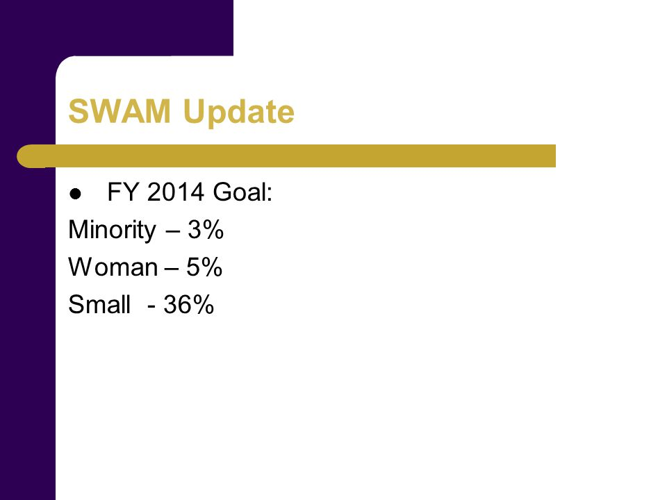 SWAM Update FY 2014 Goal: Minority – 3% Woman – 5% Small - 36%