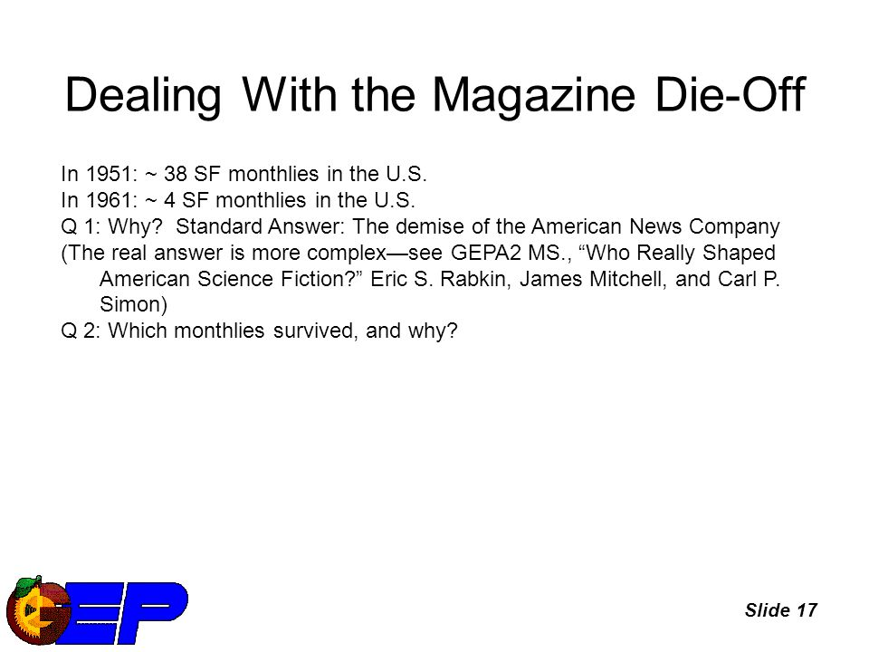 Slide 17 Dealing With the Magazine Die-Off In 1951: ~ 38 SF monthlies in the U.S.