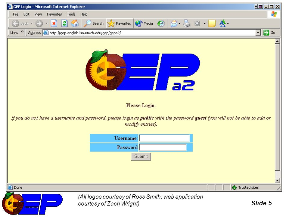 Slide 6 Online Database – opening screen (For a full list of GEPA2 team members, see http://www.umich.edu/~genreevo or http://www.umich.edu/%7Egenreevo or drop-down menu of Readers in database searches)