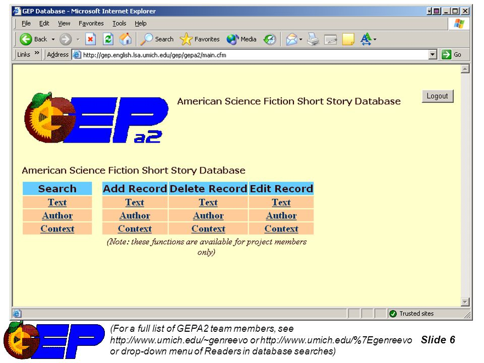 Slide 7 Key Data Sources Offline Archives (U-M, MSU, Texas A&M, UC-Riverside) Microforms Online Internet Speculative Fiction Database Contentos Index Locus Index Science Fiction and Fantasy Research Database