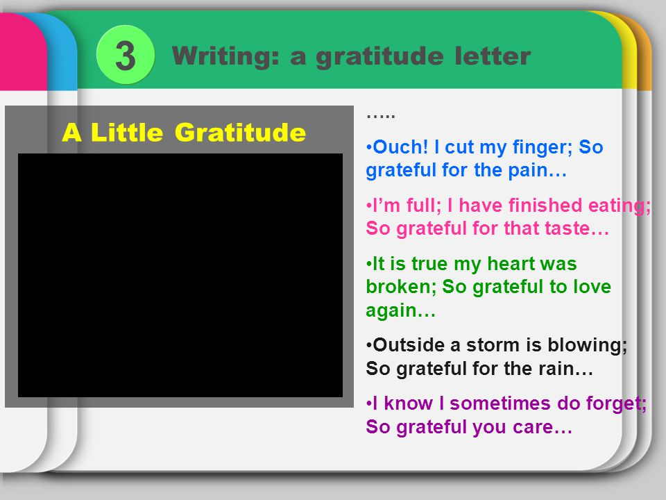 Writing: a gratitude letter 3 ….. Ouch! I cut my finger; So grateful for the pain… Im full; I have finished eating; So grateful for that taste… It is