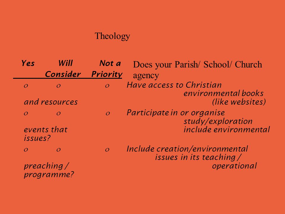 Yes Will Not a Consider Priority Have access to Christian environmental books and resources (like websites) Participate in or organise study/exploration events that include environmental issues.