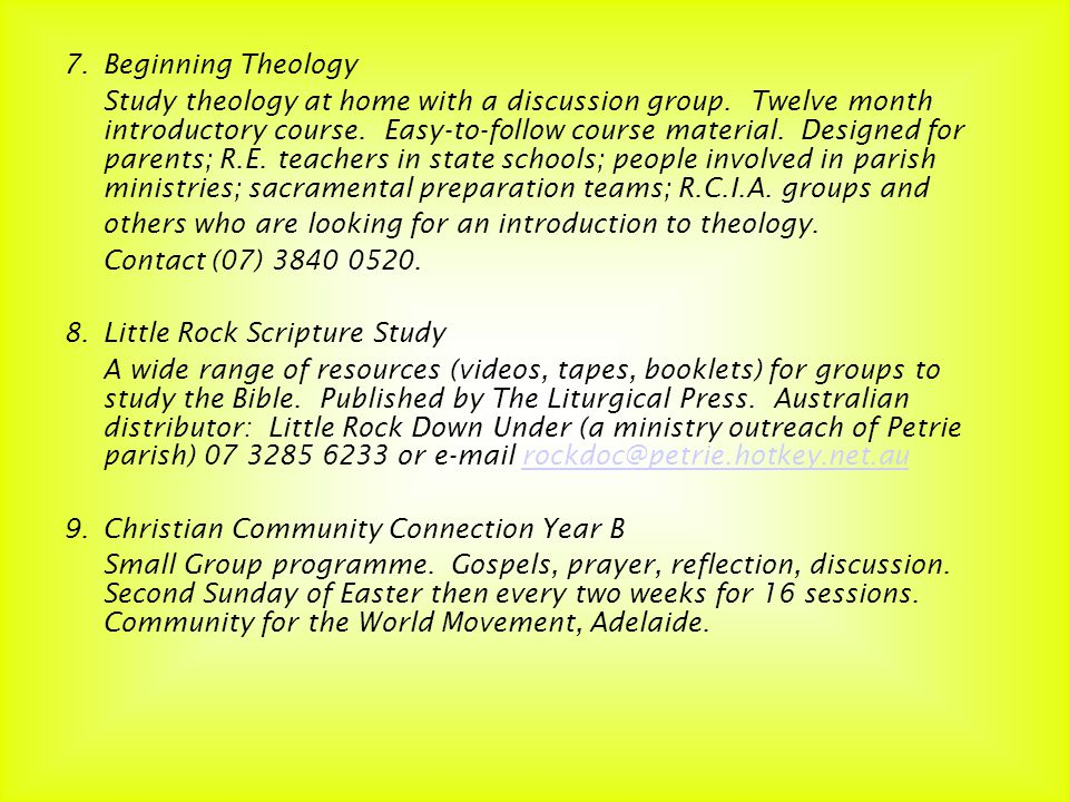 7.Beginning Theology Study theology at home with a discussion group.