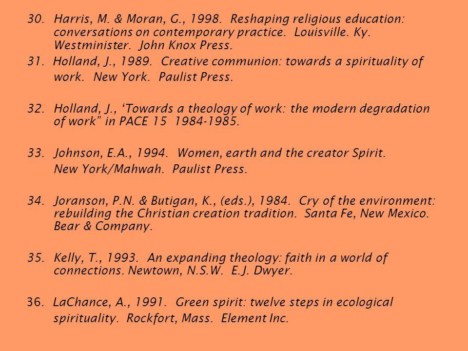 30.Harris, M. & Moran, G., 1998.