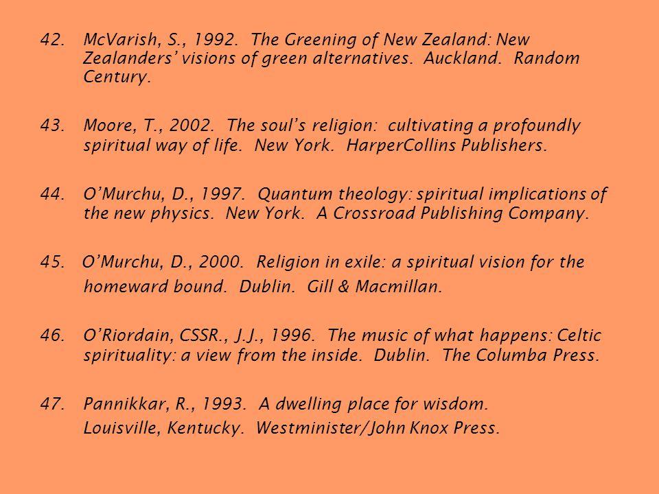 42.McVarish, S., 1992. The Greening of New Zealand: New Zealanders visions of green alternatives.