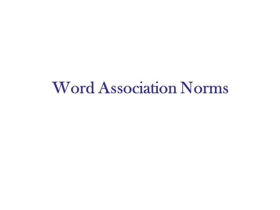 Word Association Norms