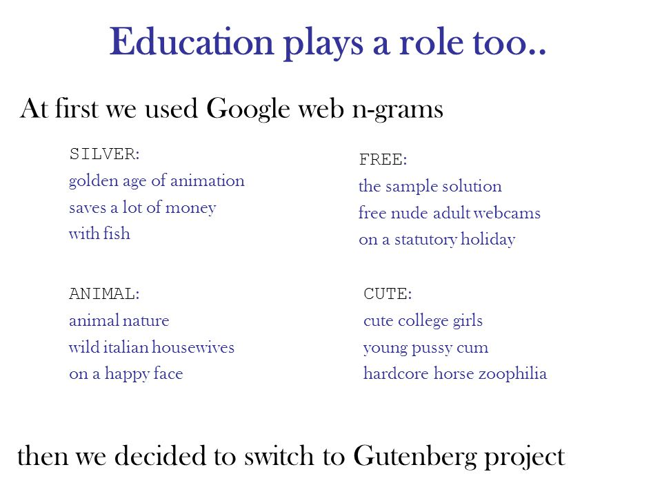 Education plays a role too.. At first we used Google web n-grams then we decided to switch to Gutenberg project SILVER : golden age of animation saves