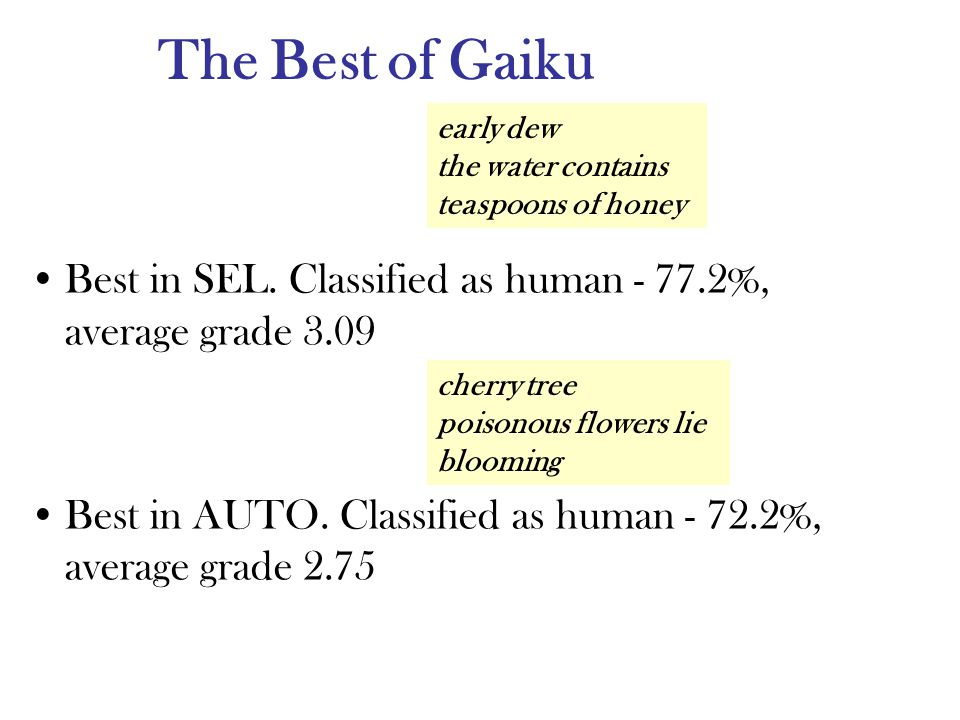 The Best of Gaiku Best in SEL. Classified as human %, average grade 3.09 Best in AUTO.