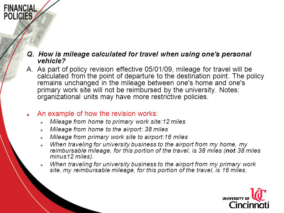 Q.How is mileage calculated for travel when using one s personal vehicle.