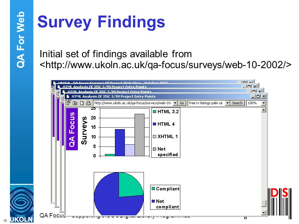 15 QA Focus – Supporting JISC s Digital Library Programmes Survey Findings Initial set of findings available from QA For Web