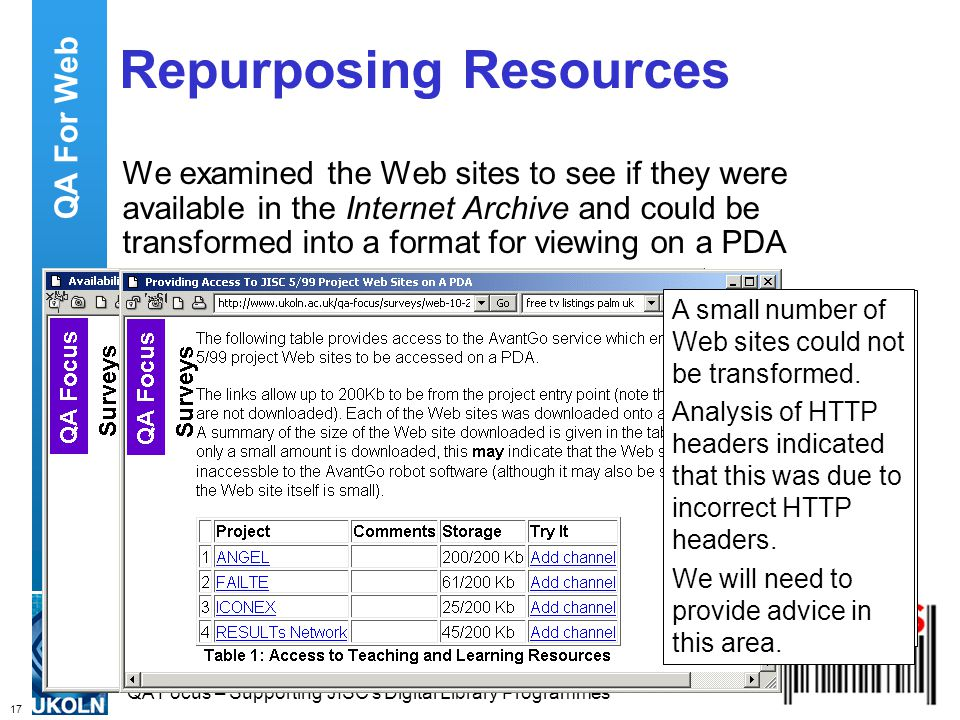17 QA Focus – Supporting JISC s Digital Library Programmes Repurposing Resources A small number of Web sites were not in the Internet Archive due to the robots.txt file.