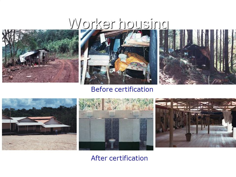 Worker housing Before certification After certification