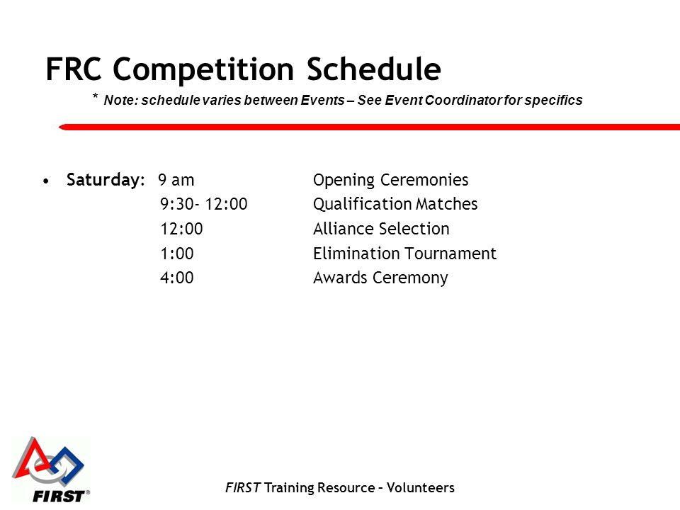 FIRST Training Resource – Volunteers FRC Competition Schedule Saturday: 9 amOpening Ceremonies 9:30- 12:00Qualification Matches 12:00Alliance Selectio