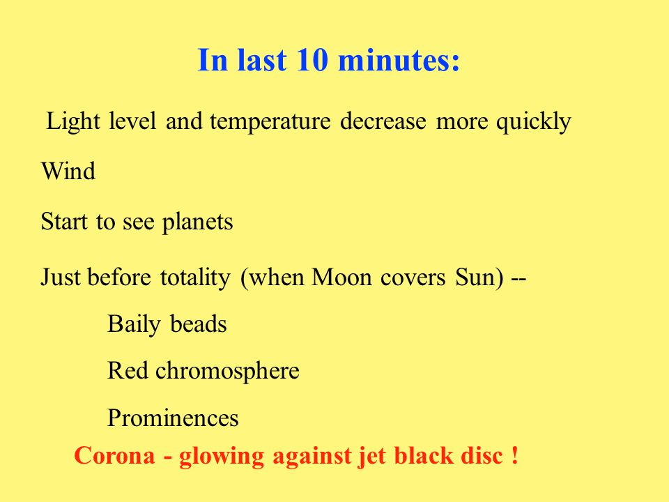 In last 10 minutes: Light level and temperature decrease more quickly Wind Start to see planets Just before totality (when Moon covers Sun) -- Baily b