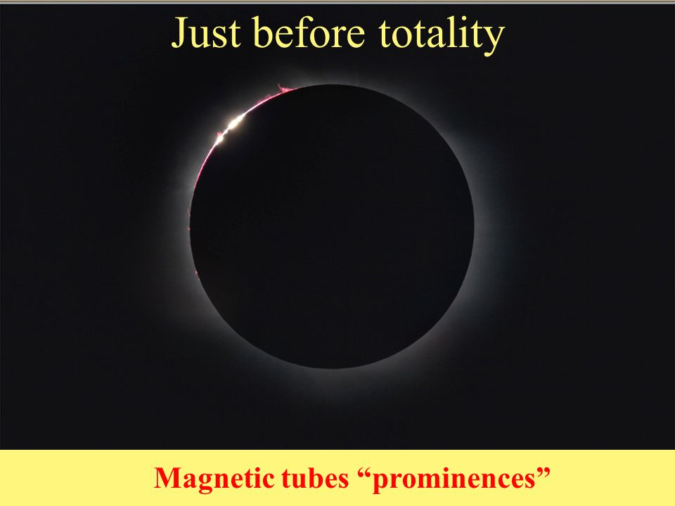 2nd Contact Just before totality Magnetic tubes prominences