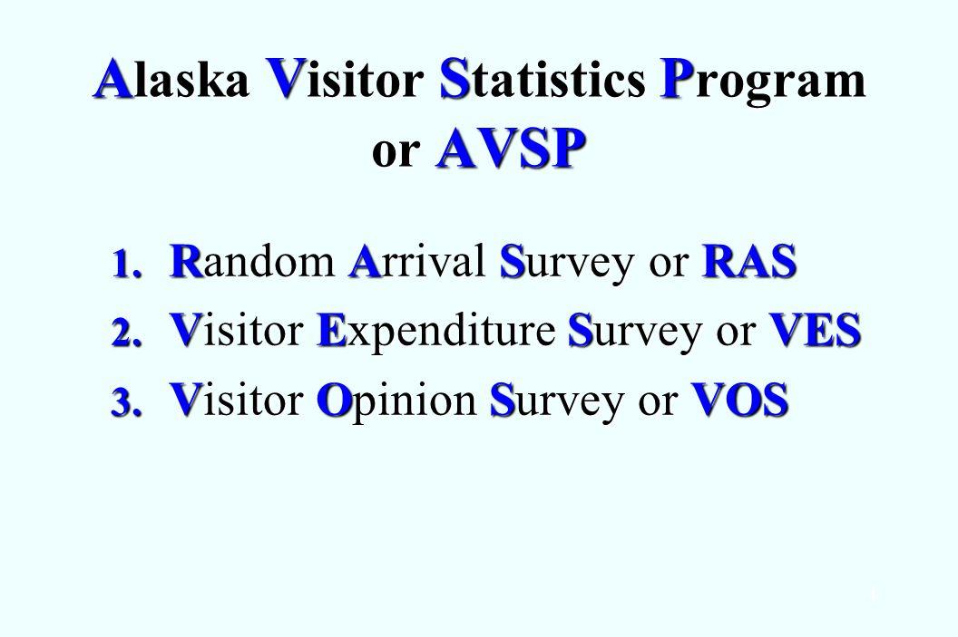 4 A laska V isitor S tatistics P rogram or AVSP 1. Random Arrival Survey or RAS 2. Visitor Expenditure Survey or VES 3. Visitor Opinion Survey or VOS