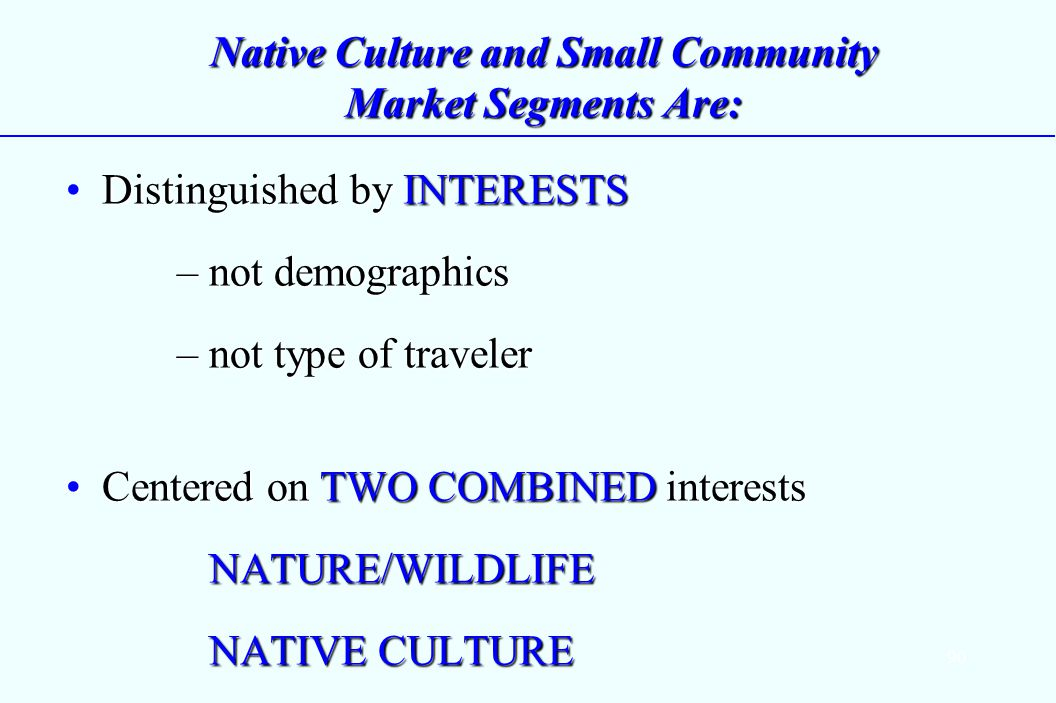 90 Native Culture and Small Community Market Segments Are: Distinguished by INTERESTS – not demographics – not type of travelerDistinguished by INTERESTS – not demographics – not type of traveler Centered on TWO COMBINED interests NATURE/WILDLIFE NATIVE CULTURECentered on TWO COMBINED interests NATURE/WILDLIFE NATIVE CULTURE
