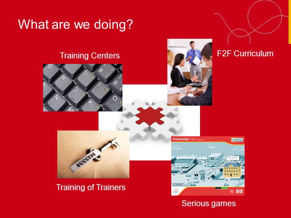 MEA-I Training Centers F2F Curriculum What are we doing Training of Trainers Serious games
