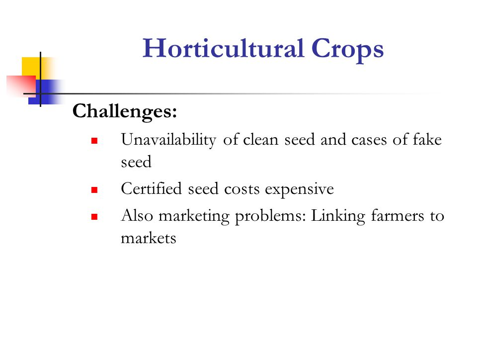 Challenges: Unavailability of clean seed and cases of fake seed Certified seed costs expensive Also marketing problems: Linking farmers to markets Horticultural Crops