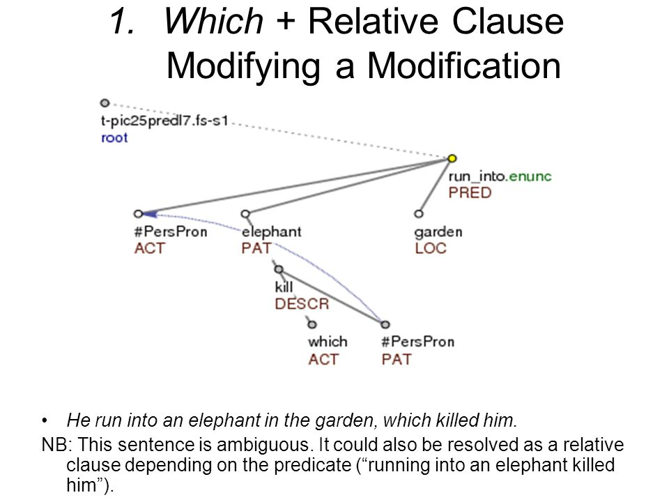 1. Which + Relative Clause Modifying a Modification He run into an elephant in the garden, which killed him. NB: This sentence is ambiguous. It could