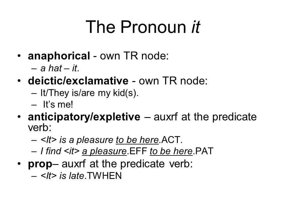 The Pronoun it anaphorical - own TR node: –a hat – it.