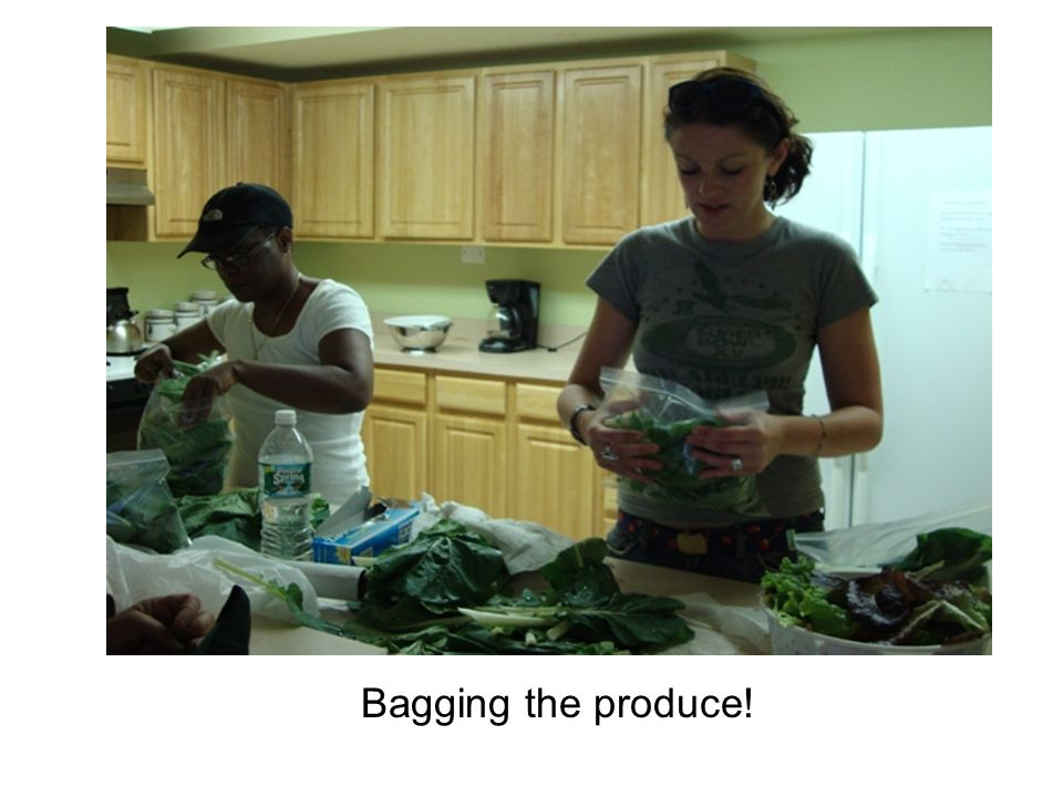 Bagging the produce!