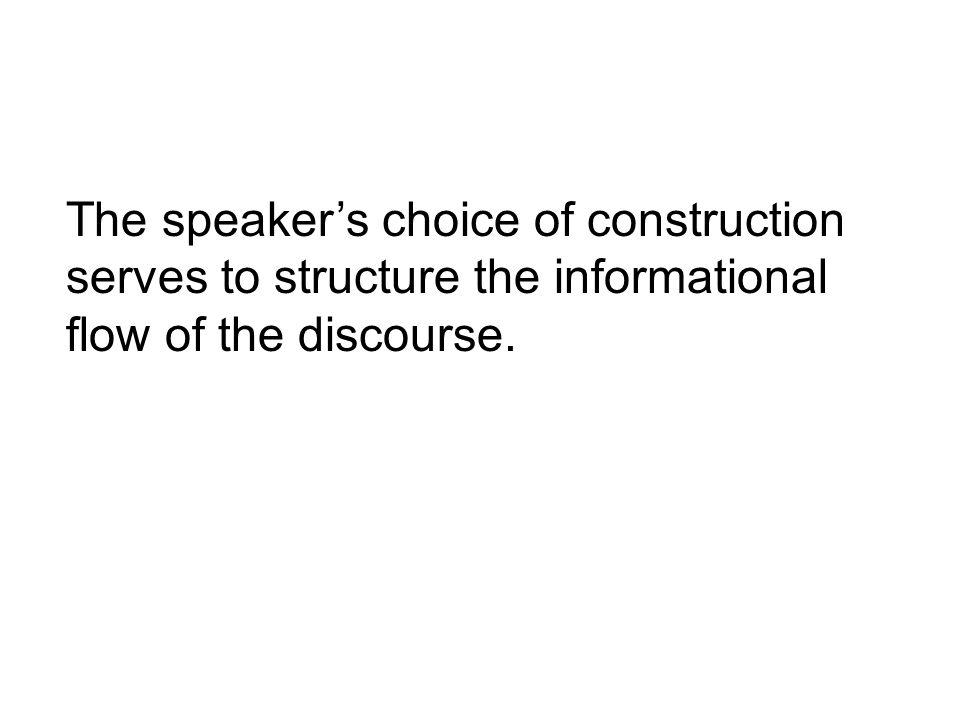 The speakers choice of construction serves to structure the informational flow of the discourse.