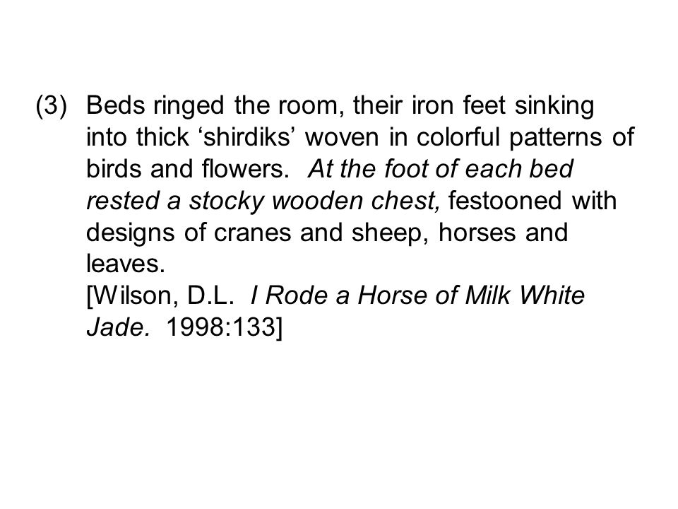 Beds ringed the room, their iron feet sinking into thick shirdiks woven in colorful patterns of birds and flowers.