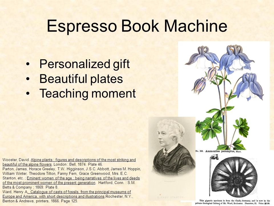 Espresso Book Machine Personalized gift Beautiful plates Teaching moment Wooster, David.