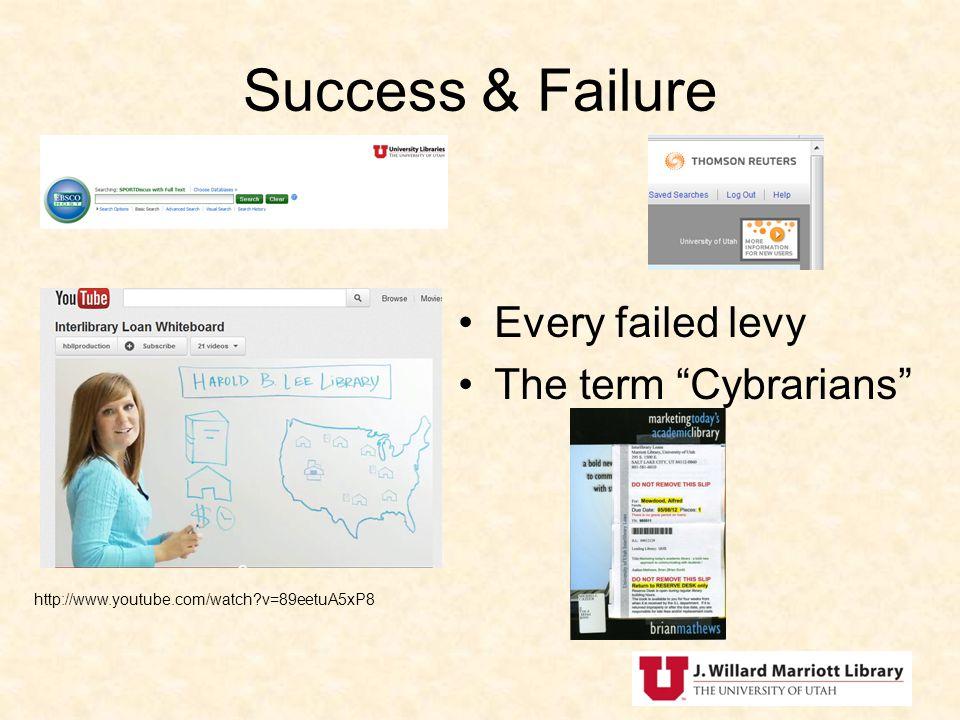 Success & Failure Every failed levy The term Cybrarians http://www.youtube.com/watch?v=89eetuA5xP8