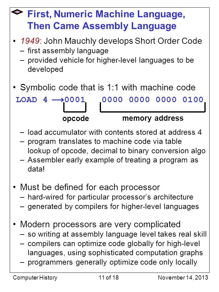1949: John Mauchly develops Short Order Code –first assembly language –provided vehicle for higher-level languages to be developed Symbolic code that