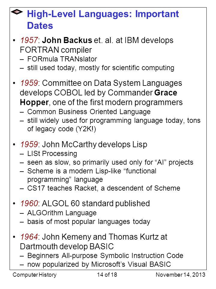 High-Level Languages: Important Dates 1957: John Backus et. al. at IBM develops FORTRAN compiler –FORmula TRANslator –still used today, mostly for sci