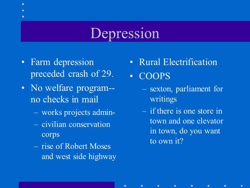 Depression Farm depression preceded crash of 29.