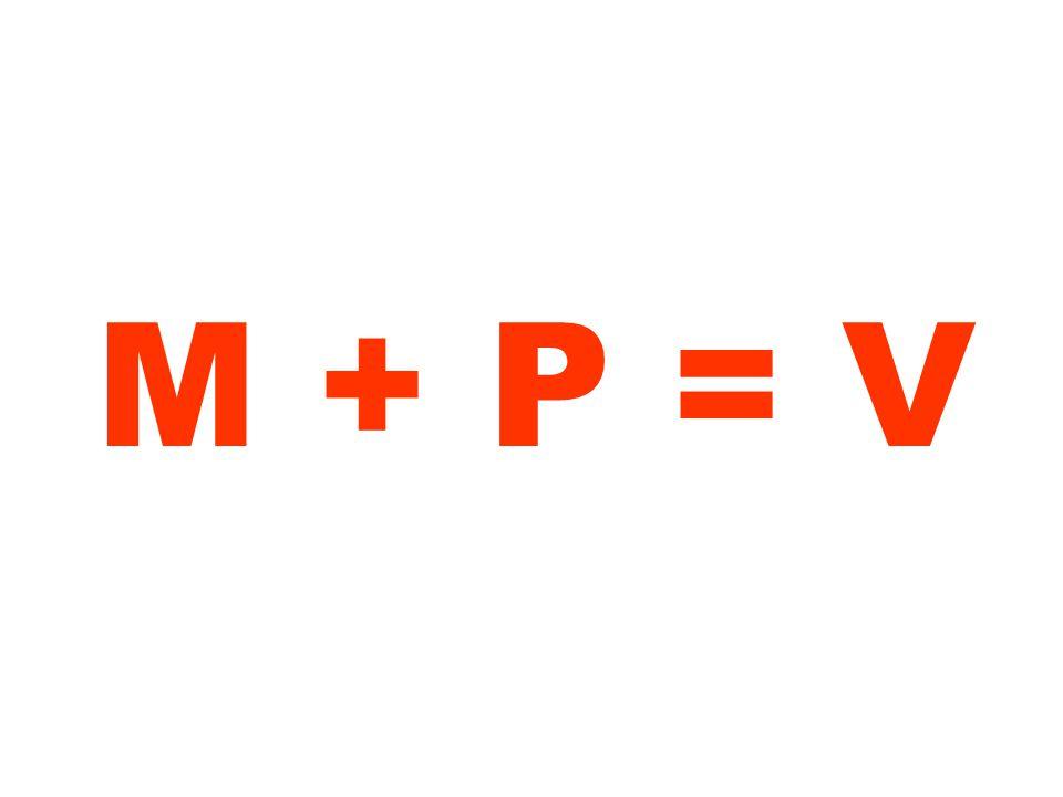M + P = V