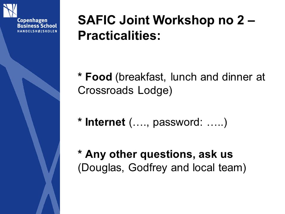 SAFIC Joint Workshop no 2 – Survey format revised A.New draft B.Process * Comments * Committee * Administration (tool-kit..) * Deadline