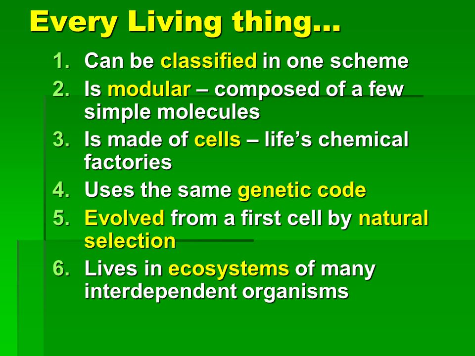 Every Living thing… 1.Can be classified in one scheme 2.Is modular – composed of a few simple molecules 3.Is made of cells – lifes chemical factories 4.Uses the same genetic code 5.Evolved from a first cell by natural selection 6.Lives in ecosystems of many interdependent organisms