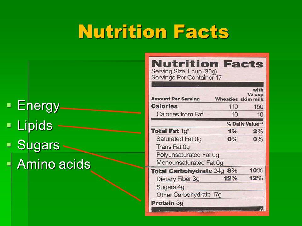 Nutrition Facts Lipids Lipids Sugars Sugars Amino acids Amino acids Energy Energy