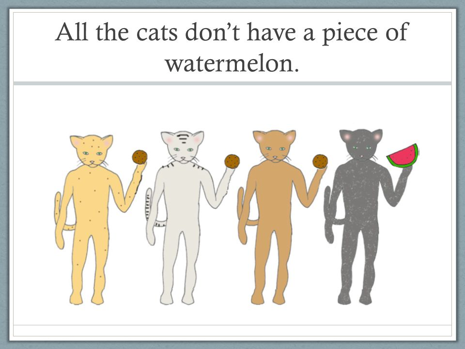 All the cats dont have a piece of watermelon.