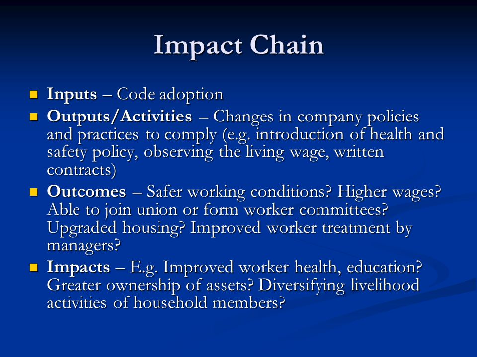 Impact Chain Inputs – Code adoption Inputs – Code adoption Outputs/Activities – Changes in company policies and practices to comply (e.g.